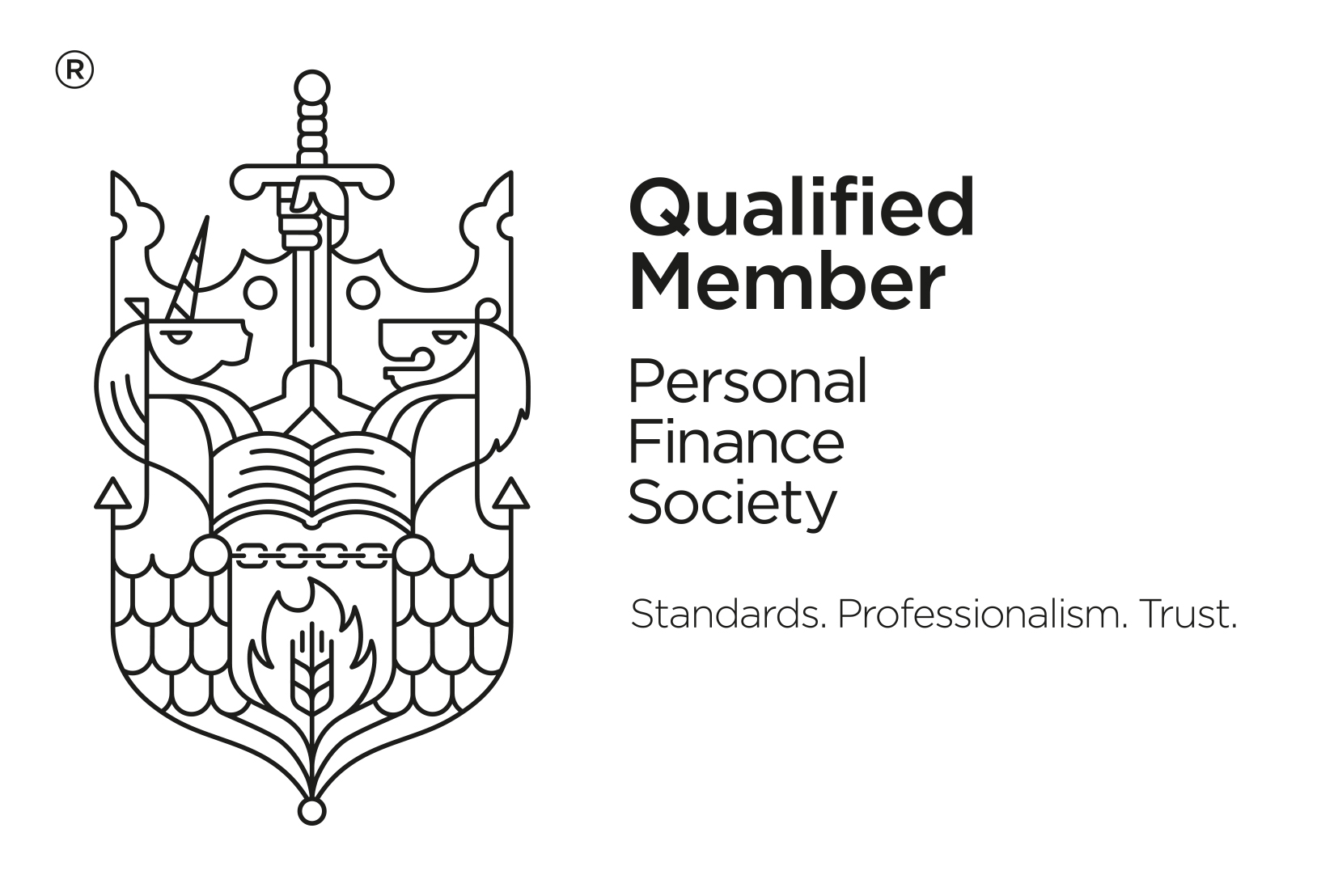 QualifiedMember PFS Black with strapline